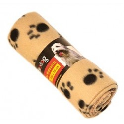Manta Huellas. Beige y Negro 100X70cm Freedog