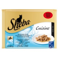 Pienso Húmedo Gato Pescado en salsa 4x85gr Sheba Cuisine
