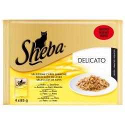 Pienso Húmedo Gato Aves en gelatina 4x85gr Sheba Delicato